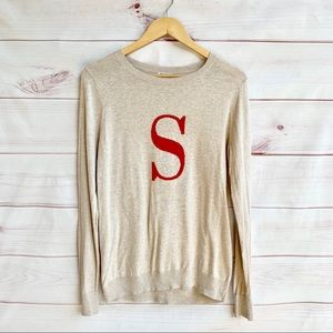 """Old Navy """"S"""" Initial Cream Sweater"""